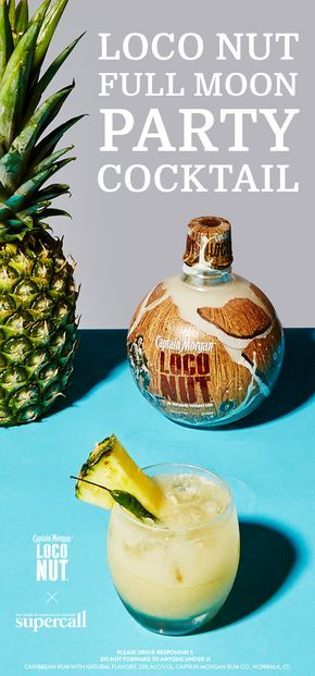 Go loco for coconut this summer with the Full Moon Party cocktail, made with Captain Morgan Loco Nut, Captain Morgan Original Spiced Rum, Thai chili, and lime and pineapple juices. #ad