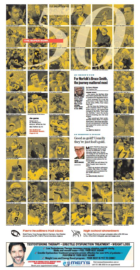 The Virginian-Pilot's Sports front page for Sunday, Feb. 7, 2016.