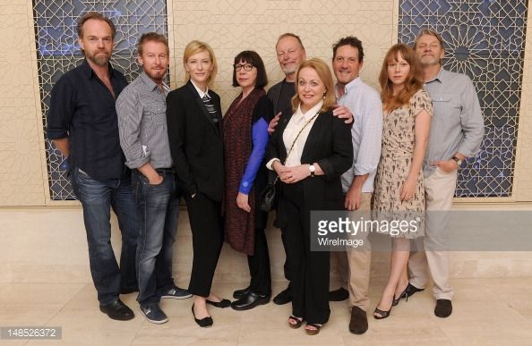 Actors Hugo Weaving, Richard Roxburgh, Cate Blanchett, Sandy Gore, John Bell, Jacki Weaver, Andrew Tighe, Hayley McElhinney and Anthony Phelan pose for the 'Uncle Vanya' Cast Photo Call during the...