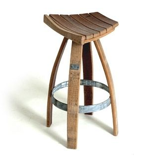 Wine Barrel Bar Stool The subtle curves of recycled wine barrel staves are aligned in the perfect seat for this contemporary bar stool. The original hoop from the barrel forms a supportive footrest for the four tapered legs. A water-based finish enhances the oak wood grain and gives this chair an authentic, eco-conscious look. #allenbooth.com #recycled #upcycled