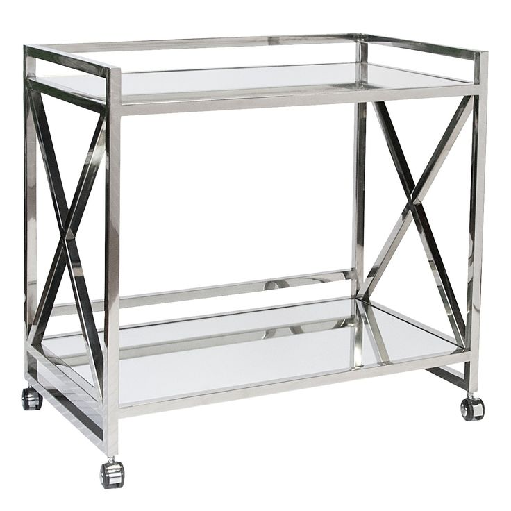 """Polished Stainless """"x"""" Bar Cart with Mirrored Shelves."""