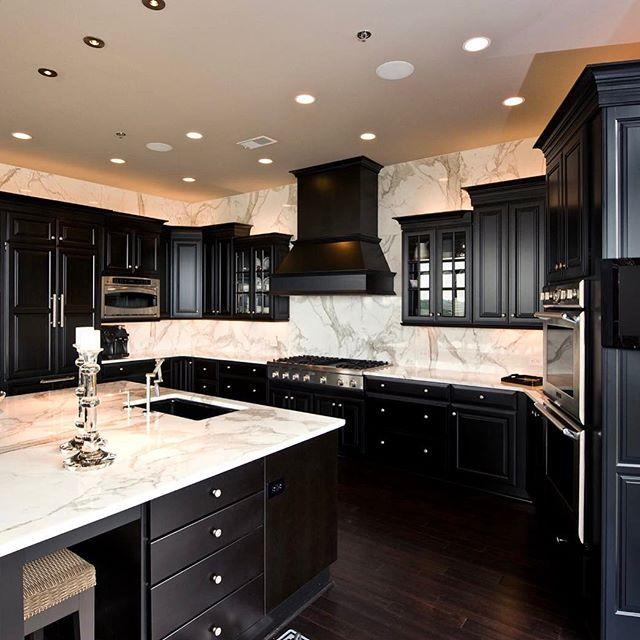 Different Backsplash. Black White KitchensDark KitchensModern ...