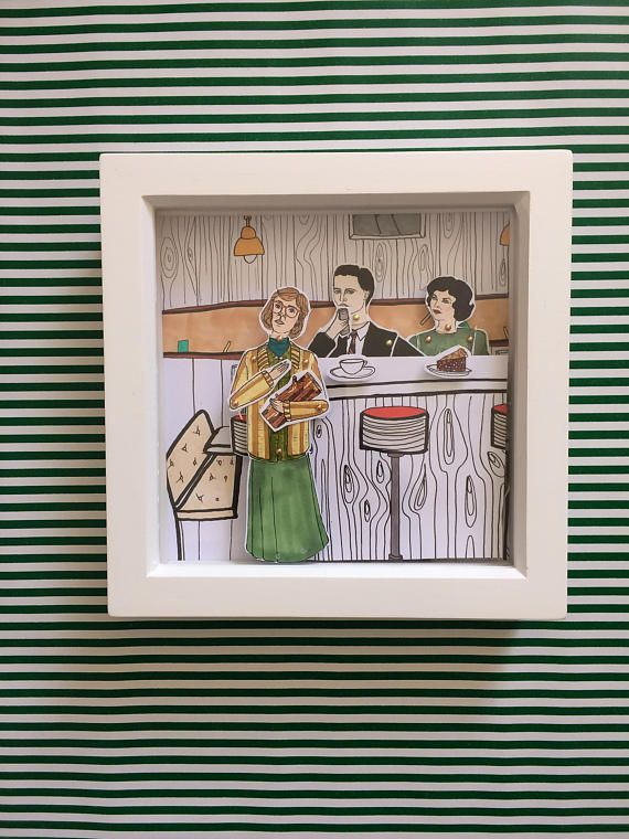 Twin Peaks Audrey, Log Lady and Agent Dale Cooper framed dolls! These beautiful little dolls are hand illustrated by myself, hand cut and pinned using mini gold brad pins then framed.  The frames come in a lovely little package that can be personalized all you have to do is message me with who the gift is TO: and FROM: and I can pop that on ready for gifting.  All dolls are roughly 25cm tall and are professionally printed on sturdy 300gsm matt card before being hand cut and pinned. All…