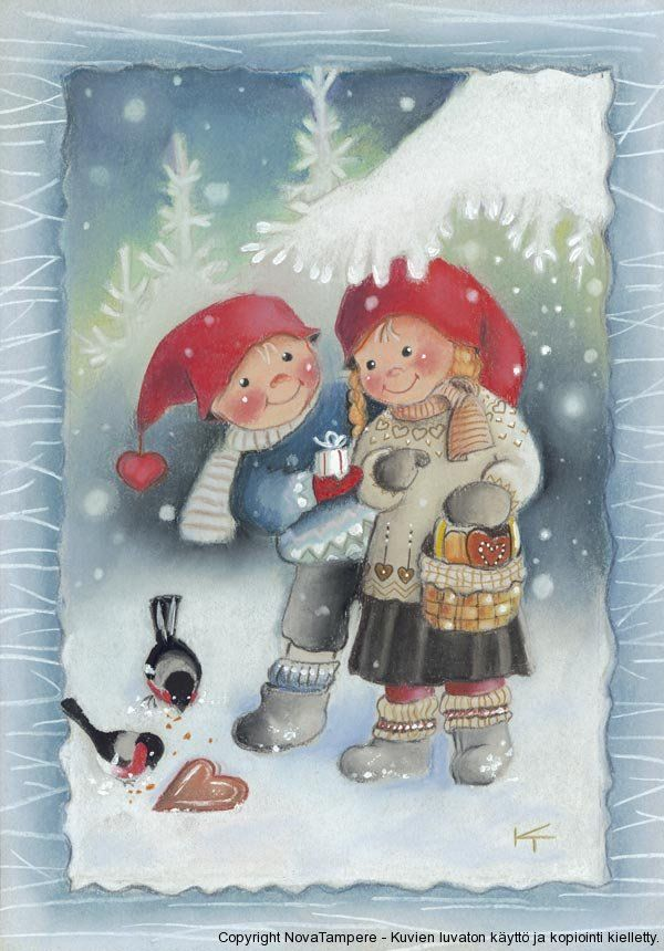 Best 675 finnish christmas cards images on pinterest christmas kaarina toivanen finland holiday card two children feeding birds in the snow m4hsunfo