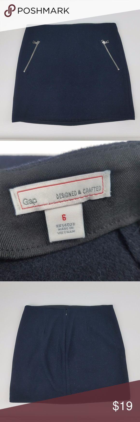 "Gap mini skirt wool black size 6 Gap designed women's skirt wool w/ pockets A line size 6 black career casual   Total Length: 16"" GAP Skirts Mini"