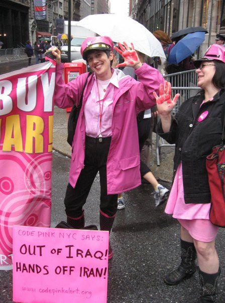 Out Of Iraq, Hands off Iran, Don't Buy Bush's War, 2007 anti-war march in NYC.
