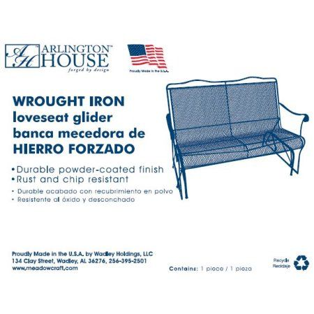 Arlington House Wrought Iron Glider Outdoor Chair For Two