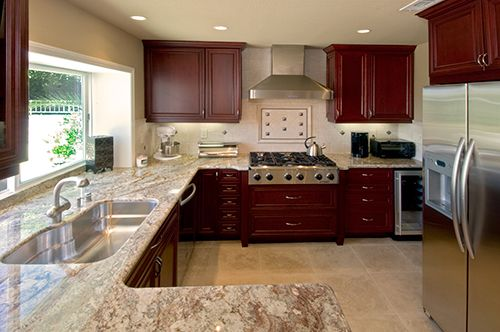 Cabinets, Cherries Cabinets, Cherries Wood, Dark Cabinets, Kitchens
