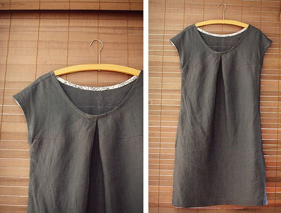 Modified Sorbetto top into dress by little home by hand.  Use reversible fabric  accent bias tape for travel dress.  Try in linen gauze.