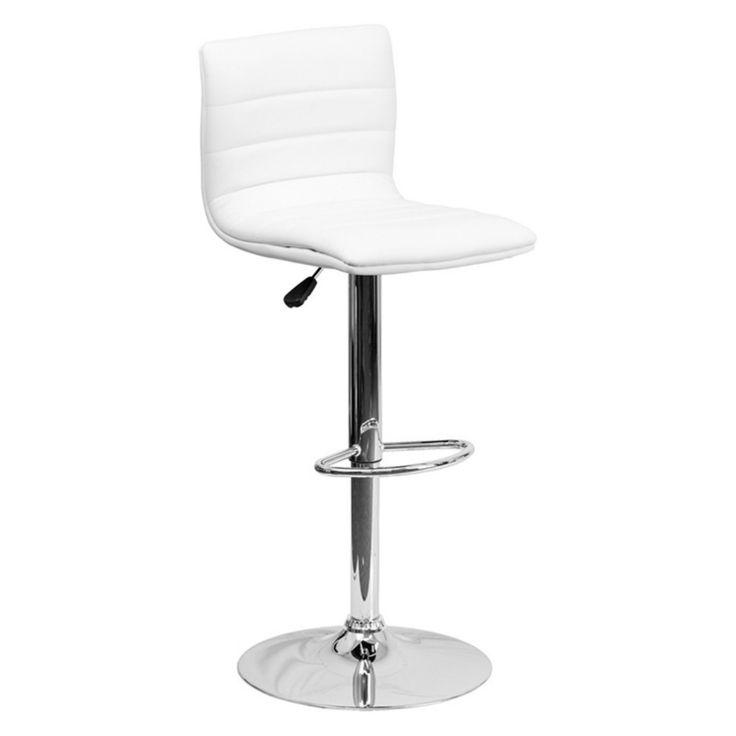 Flash Furniture Contemporary Horizontal Line Design Adjustable Bar Stool with Chrome Base - CH-92023-1-BK-GG
