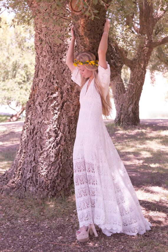 "Vintage-Looking Wedding Dress White Ivory Cream Crochet Lace Sleeves Bohemian Hippie Bride - ""Willow"""