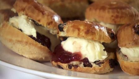 Yorkshire Scones with Strawberry Jam and Clotted Cream  http://www.bbc.co.uk/food/recipes/yorkshire_scones_with_67876