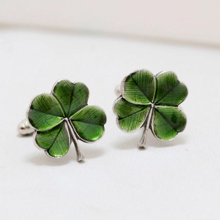 Four Leaf Clover Jewelry Gift Cufflinks Men's Cufflinks Irish Shamrock Steampunk Irish Wedding Men's Accessories Gift Boxed by emmagemshop on Etsy https://www.etsy.com/listing/113492330/four-leaf-clover-jewelry-gift-cufflinks