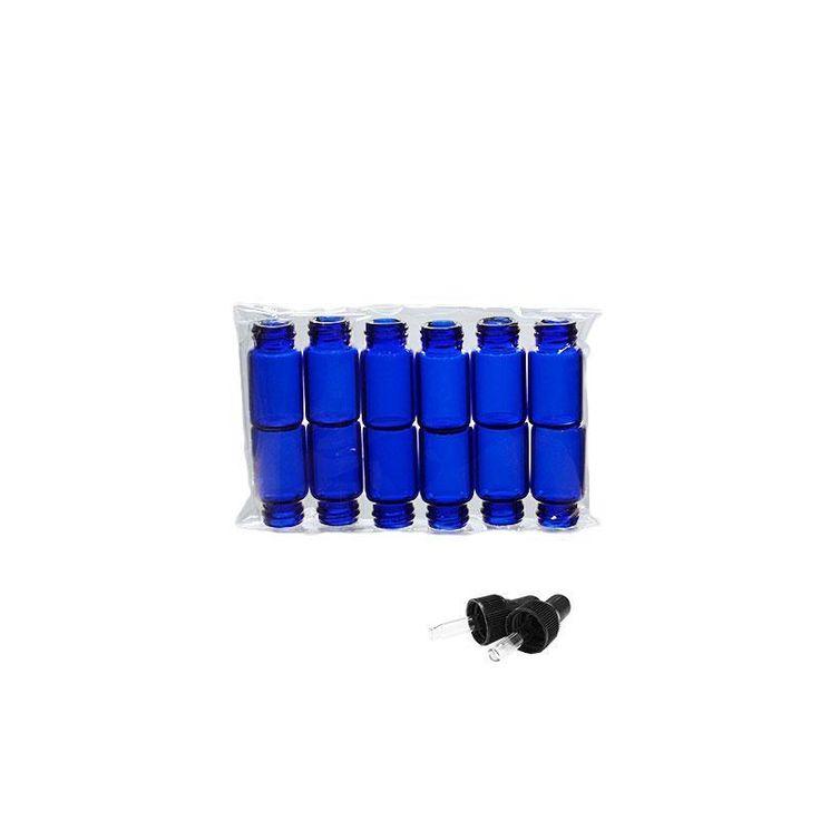 5/8 Dram Cobalt Blue Glass Bottle with Nitrile Rubber Black Dropper