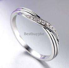 Nombre grabado anillos 925 anillo de plata anillo diamant curva espiral semi-círculo diamant anillo de EE.UU. tamaño de 4 a 12 (JSA)(China)