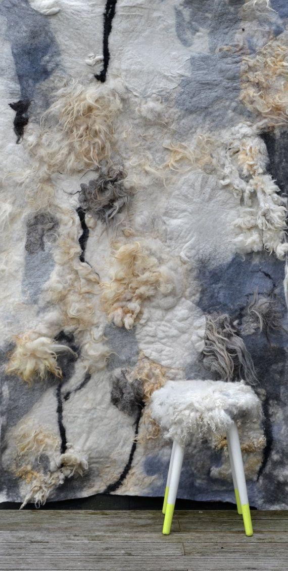 felted felt raw wool wall hanging wall art wall by dolledottie, $432.00