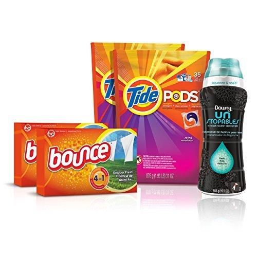 Tide Amazing Laundry Bundle (68 Loads): Tide PODS Bounce Sheets and Downy Unstopables