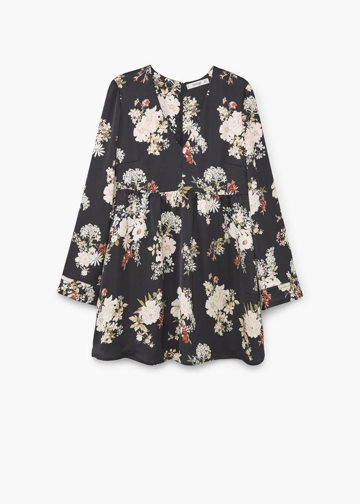 Струящееся платье с цветочным принтом - Платья - Женская | MANGO МАНГО Россия (Российская Федерация)
