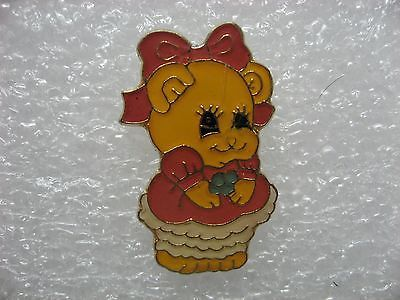 Pig-girl-dressed-up-lapel-pin-cute-collector-item-glossy-metal-New