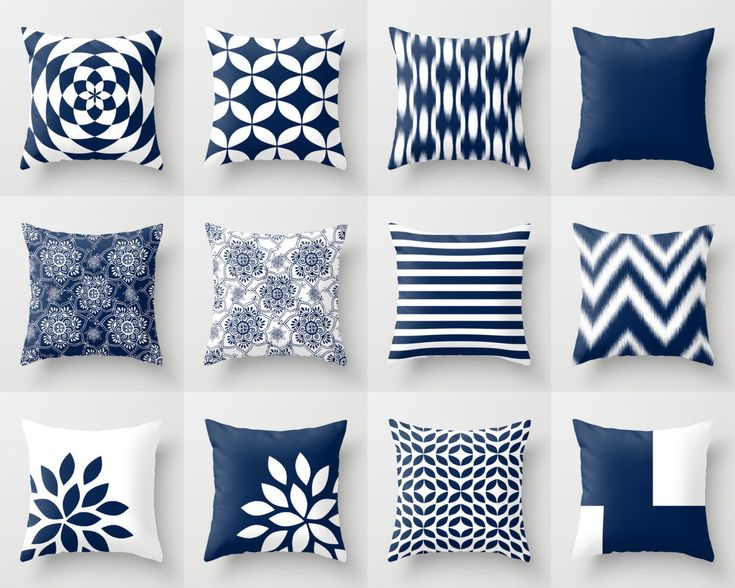 Blue Throw Pillows, Blue Pillows, Navy Blue Decorative Pillow Covers,  Chevron Throw Pillows, Cover Only Decorative Pillows