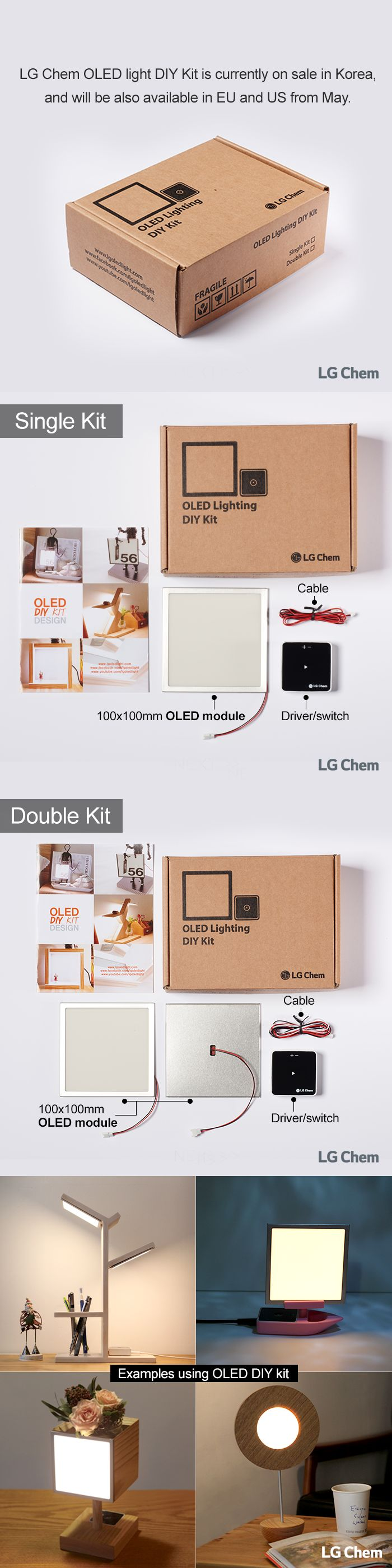 We introduce LG Chem OLED DIY Kit, which is currently available through Korean online market for sale. Experience OLEDs at home by designing your own lighting. It will also be available in EU and US from May. LG 화학 OLED 조명 DIY 키트를 소개합니다. 키트는 아래 링크를 통해 구매하실 수 있습니다!.