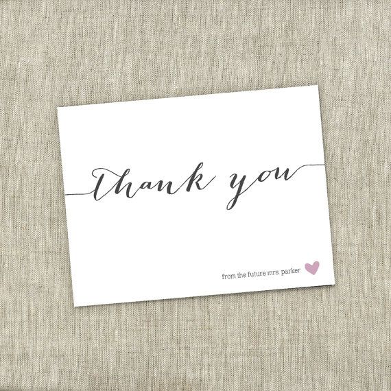 bridal shower thank you small heart shower simple modern bridal shower thank you card printable diy