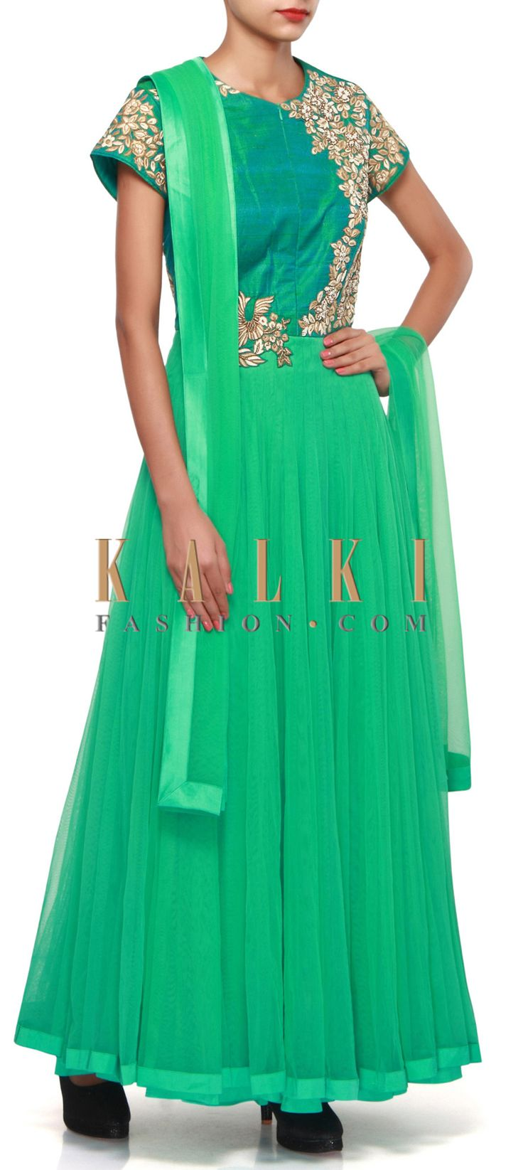 Buy Online from the link below. We ship worldwide (Free Shipping over US$100). Product SKU - 308365.Product Link - http://www.kalkifashion.com/jade-green-anarkali-suit-adorn-in-resham-and-zardosi-embroidery-only-on-kalki.html