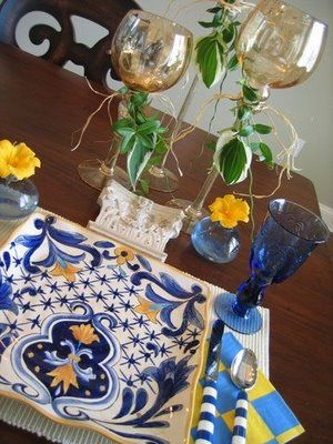 Cool Blue Table Setting