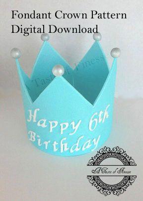 PDF Digital Download Fondant Crown Pattern Cake by ATasteofFinesse
