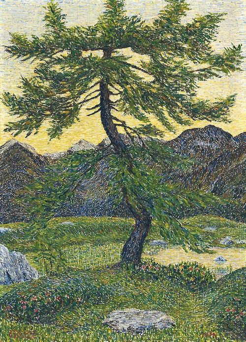 Gottardo Segantini (Swiss, 1882-1974), Pine in Mountain Landscape, 1954. Oil on Pavatex, 46 x 34 cm.