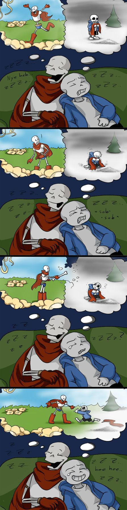 I think Paps knows Sans so well he knows exactly when his brother needs someone despite wanting to be left alone. When Sans needs a hug Paps gives him a hug. EDIT: Fixed wrong pictures order