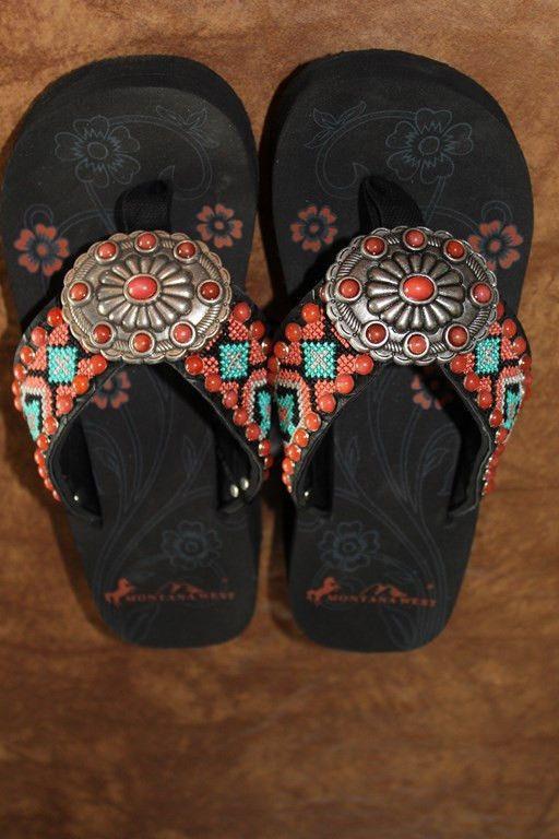 Montana West Cowgirl Western Stone Bling Flip Flops Wedge Sandals Aztec OE6 #MontanaWest #FlipFlops