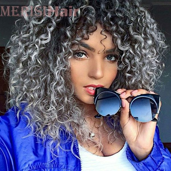 Fahsion Short Black Ombre Grey Curly Wig Hair Costume Wigs Size With Wig Cap Color Gray White Ombre Hair Grey Ombre Hair Curly Hair Styles Naturally