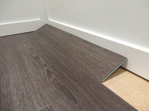 How To Install Click Laminate Flooring Without Removing Baseboards Just Needs Paint Installing Laminate Flooring Click Laminate Flooring Laminate Flooring