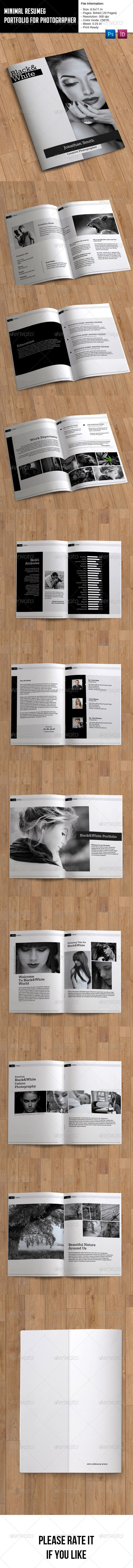 Descrtiption:Minimal Resume and Portfolio for Photographer.PSD: All is layered,grouped and named.Easy to edit font,text,color,imam