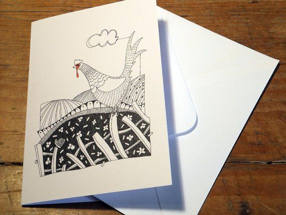 Cheeky Chicken Greeting Card from an original art by EmmaGilesArt