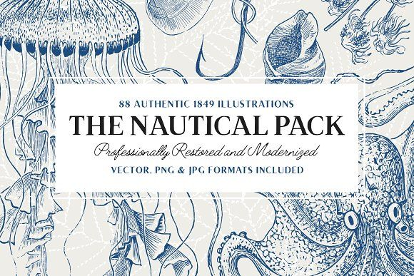 88 Vintage Nautical Illustrations by Vector Hut on @creativemarket
