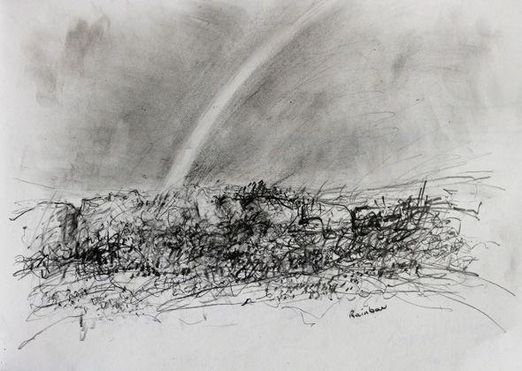 Rainbow near Tregeseal stone circle. Pencil on paper. 30×41 cm 2016 £75.00