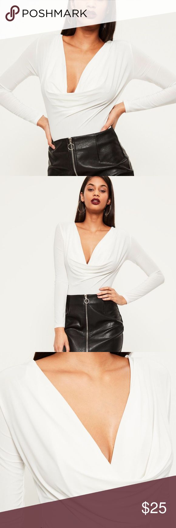 Missguided Cowl Neck Plunge Bodysuit 4 New Missguided white cowl neck plunge Bodysuit. Size 4. Missguided Tops