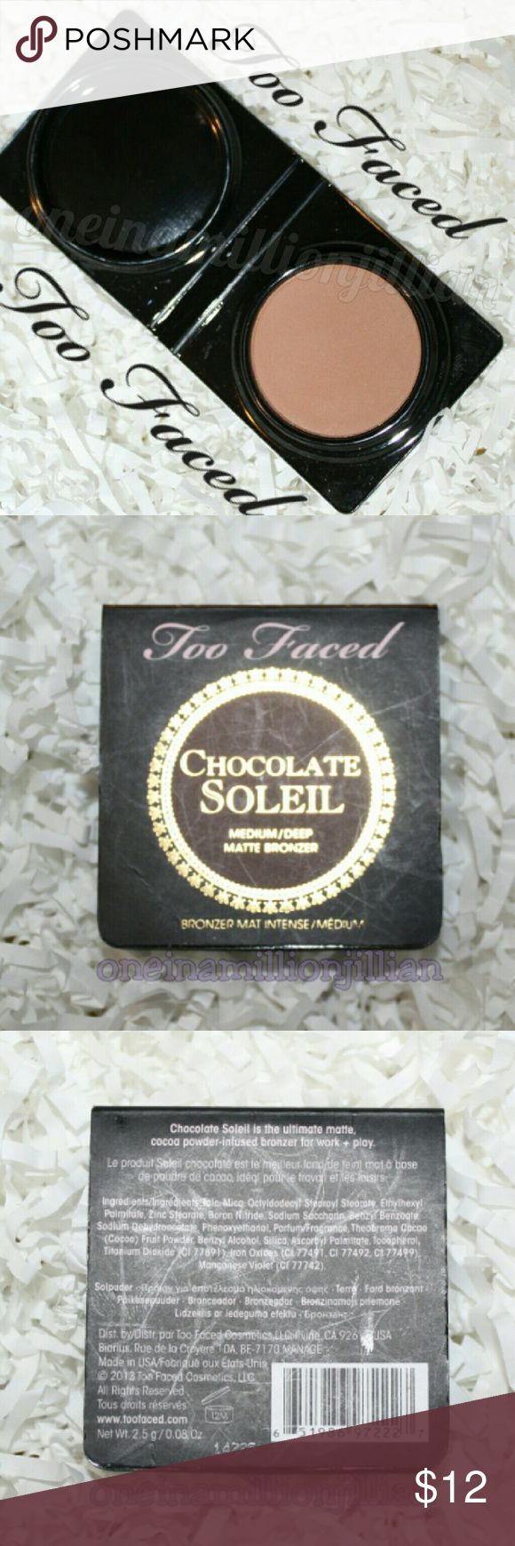 Too Faced Chocolate Soleil Matte Bronzing Powder New - Never Used  .08oz travel sz - Authentic  Color: Chocolate (medium/deep)  Too Faced Chocolate Soleil Matte Bronzer makes getting glam & tan downright delicious. It combines the natural, therapeutic effects of real cocoa powder with their signature bronzing pigments, creating a unique matte bronzer that neutralizes red & evens out & enhances all skintones. The complexion is left with a flawless finish, a gorgeous radiance & a subtly sweet…