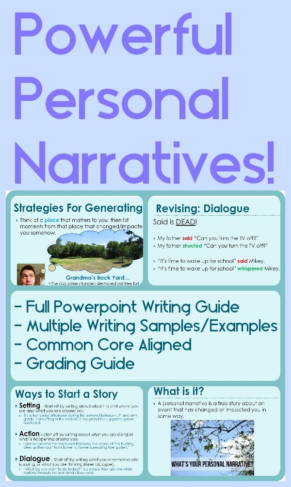 personal narrative my experiences with learning processes This set of 14 personal narrative writing prompts are ideal for use in 4-5th grades each prompt includes a photo stimulus, think, write, and be sure to statement in addition, they include a prompt analysis and optional composition starter.