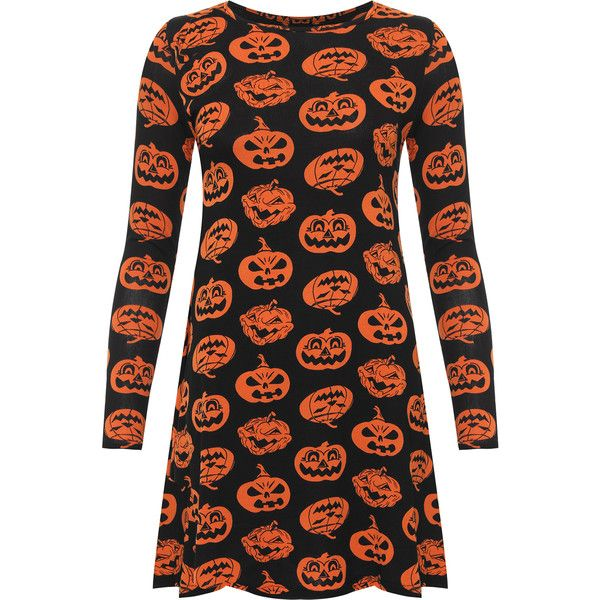 WearAll Plus Size Pumpkin Print Long Sleeve Swing Dress (£18) ❤ liked on Polyvore featuring dresses, orange, plus size print dress, plus size long sleeve dresses, long sleeve print dress, swing dresses and long sleeve dress