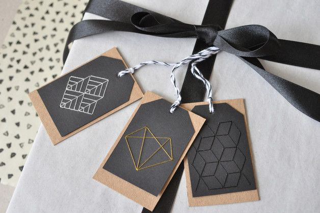 BIRTHDAY GIFT TAG JUBILEE GEOMETRIC MINI WEDDING GIFT CARD HANDMADE LABELS DIY EMBROIDERY KIT  ◣ ART DÉCO Pimp your gifts with elegant, handmade embroidery tags - it´s so easy! The pre-pierced...