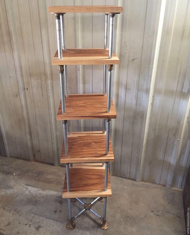 Купить Стильный лофт - полка, полка деревянная, полка из дерева, стеллаж, ручная работа, стойка