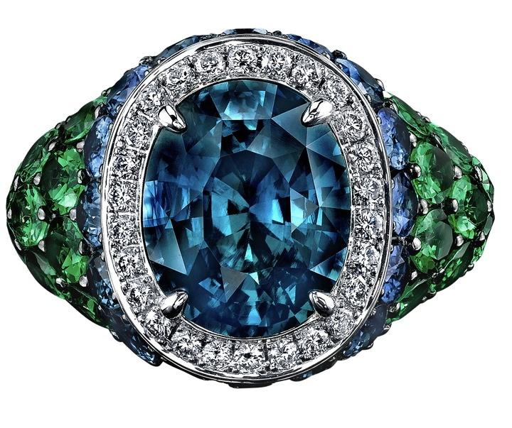 Robert Procop Sapphire, Diamond  Tsavorite Cocktail Ring