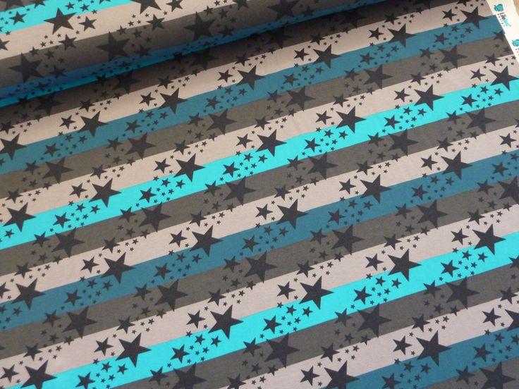 Stoff Sterne - Jersey Sternenregen, Bio-Baumwolljersey grau blau  - ein Designerstück von Jules-Stoffkiste bei DaWanda