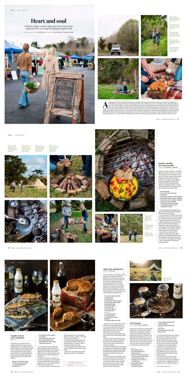 Heart and Soul. Puhoi Valley feature in Taste magazine