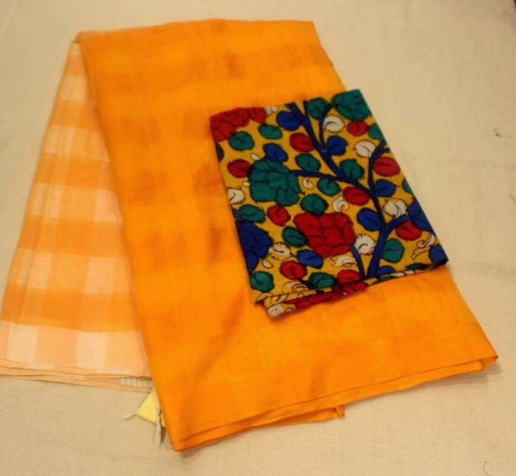 An elegant and simple handwoven Cotton silk sarees in vibrant colours With handprint kalamkari blouse | Elegant Fashion Wear Price :4500 #elefantfashionwear #handowen #saree #handprunted #blouse