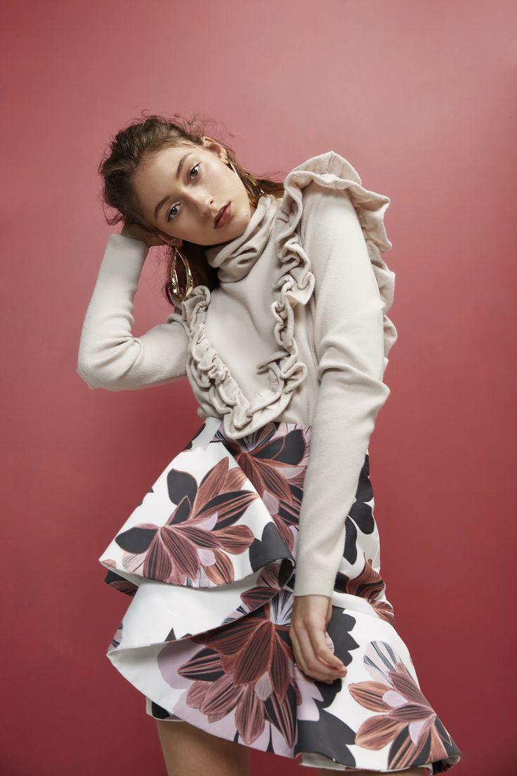 Keepsake- Vital Signs Long Sleeve Knit Jumper, Oyster and Escape Mini Dress, Floral