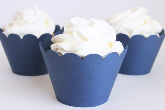 Navy Blue Cupcake Wrappers Navy Blue Party Supplies Cupcake Liners Boy Baby Shower Nautical Party 4th of July Boy Birthday Party / Set of 12...